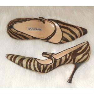 MANOLO BLAHNIK Tiger Stripe Calf Hair Pumps 37.5